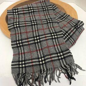 Burberry London Lambs Wool Nova Check Grey Scarf